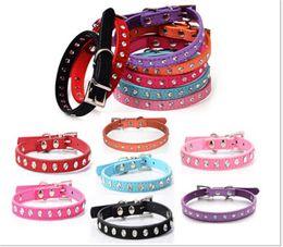 Wholesale Diamante Rhinestone Dog Collars - 4 Sizes Brand New suede Leather Dog Collars Rhinestone Dog collar diamante Cute Pet Collars D500
