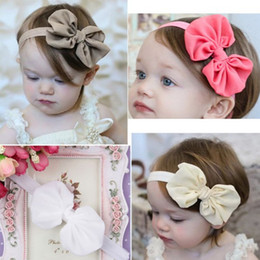 Wholesale Red Big Flower Hair Bands - 5 pcs Big Bowknot Baby Girl Headbands Infant Baby Flower Hair Bands Children Kids Hair Accessory