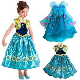 Wholesale Gauze Clothing Wholesale - Factory Prices Frozen dresses Frozen Fever Girl Elsa Anna Dresses Kids Summer Gauze Clothing Princess Short Sleeve Kids Party dress