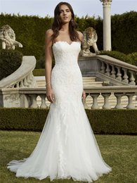 Wholesale Ivory Enzoani Wedding Dresses - Top Selling Lace Appliqued Wedding Dresses Mermaid Sweetheart Neckline Bridal Gown Sweep Train Tulle Wedding Dress Blue Enzoani