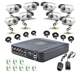 Wholesale Camera Surveillance Video System - Free shipping DHL,EMS 8 Channel DVR 8 x 1200TVL Outdoor Waterproof Home Video Surveillance Security Camera System real time