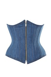 Hot Plus Size Blue Denim Corsetto Sleepwear Sexy Women Lace Top in acciaio Bustier Lingerie Front Zip Underbust Corsetto Cincher Abiti cheap blue lace beige dress da abito blu beige beige fornitori