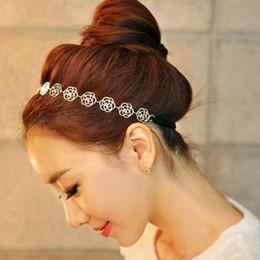 feind freies verschiffen Rabatt Neue Art und Weise reizende Metallic Frauen höhlen Rosen-Blumen-elastische Haar-Hauptband Stirnband Kopfbedeckung Zubehör