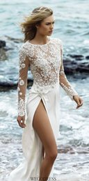 Wholesale Lace Silk Wedding Dress Sleeves - 2016 New A-Line Illusion Lace Bodice And Long Sleeves With Appliques Beading Detail Silk Skrit Thigh-High Slits Beach Wedding Dresses