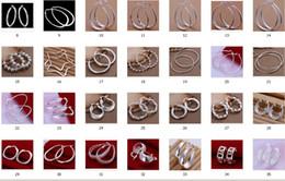 Горячие продажи 35 стиль выбрать 10 пар / лот гипербола большой стерлингового серебра 925 уха клип уха Хооп серьги мода подарки уха кольцо от Поставщики кольцо для обруча с зажимным кольцом