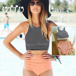 Wholesale Vintage Tankini Swimsuits - Retro High Waist Striped Top Tankini Women Fashion Vintage Sports Two Piece Swimsuit High Neck Plus Size XL Swimwear Beach Wear