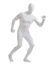 Wholesale Catsuit Accessory - Wholesale-Lycra Spandex Funny white Zentai suit Costumes halloween party accessories