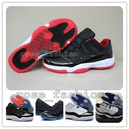 Wholesale Cheap 11 Boots - Cheap XI 11 LOW Bred Basketball Shoes Black Red Retro Sports Shoes 11s Low Concords Basketball Boots Men Athletics Wholesale Sneakers BootS