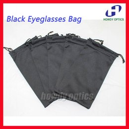 Wholesale Eyeglass Pouches Wholesale - Wholesale-50pcs Quality Black Eyeglasses Bag Glasses Pouch 18.5x9cm 175gsm microfiber 100% Polyester Two Pull Ropes Free Shipping