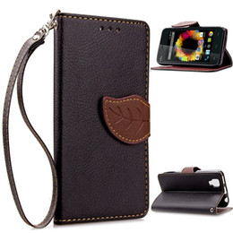Wholesale Card Wallet Rainbow - Leaf Wallet Leather Case TPU back Cover with hand strap For WIKO HIGHWAY LENNY RAINBOW SUNSET