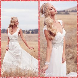 Wholesale Cheap Anna Campbell Dresses - Simpl 2016 Anna Campbell A-Line Wedding Dresses Chiffon Chapel Train Beaded Crystal Sash Bridal Gowns Pleated Ruched Outdoor Cheap Online