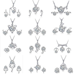 Wholesale Silver Earring Necklace Crystal Pendants - Top Grade Silver Jewelry Sets New Fashion Hot Sale Crystal Earrings Pendants Necklaces Set for Women Girl Gift Wholesale Free Ship 0222WH