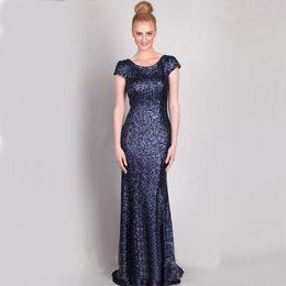 Wholesale Long Glittery Dresses - Glittery Sequins Navy Bridesmaid Dresses 2016 Scoop Neck Short Sleeves Cowl Back Mermaid Bridesmaids Dresses Plus Size