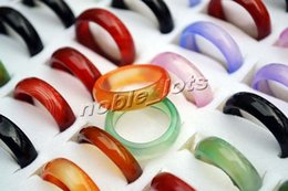 Wholesale Solid Agate Band Ring - New Beautiful jewelry Smooth Colorful Round Solid Jade Agate GemStone stone Band Jewelry Rings 100pcs lots