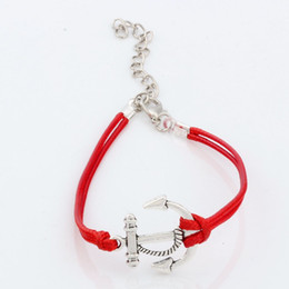 Wholesale Roped Color Bracelets Charms - MIC 100pcs Antique silver Alloy Anchors Charms red color Wax rope Adjustable Bracelets