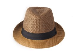 Wholesale Wholesale Mens Straw Hats - Wholesale-Free Shipping 2015 Fashion hats for women Mens Cap Summer Beach Sun Straw Unisex Solid Cap Sun Straw Hat Couples Lovers Hat