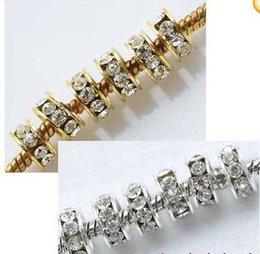Wholesale Big Hole Crystal Golden Beads - Wholesale-OMH wholesale free ship 20pcs Shiny Silver Golden Big Hole Crystal Glass Spacer Beads Fit Bracelet