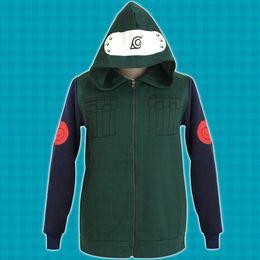 Wholesale Top Coat Cosplay - Naruto Konoha Ninja Hatake Kakashi Sweatshirt Cosplay Costume Hooded Coat Jacket Unisex Hoodies Tops Sportwear