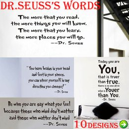 Wholesale Dr Seuss Wall Sticker - DR. Seuss inspirational quote wall stickers office living room decoration 8074. vinyl adesivo de parede home decal mural art 4.0