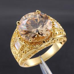 Wholesale Topaz Gemstone Men Rings - Size 9,10,11 Men's Huge 15ct Orange Topaz 18K Yellow Gold Filled Gemstone Ring for Men Nice Gift