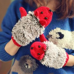 Wholesale Coral Heating - Hedgehog Cartoon Gloves Women Winter Warmer Knitted Crochet Wrist Coral Fleece Heated Mittens Outdoor gloves Gifts 9 Colors
