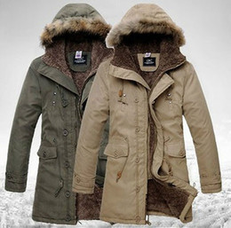Wholesale Mens Fur Jackets Xxl - Fall-Hot 2015 Mens Cloth Fur Hooded Winter Long Coat Men's Outerwear Warm Thickening Fleece Jackets Cotton overcoat Asia S-XXL 3color