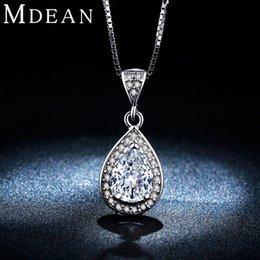 Wholesale Big Gold Filled Pendants - MDEAN White gold plated necklace Hot Selling Fashion necklace for Women big AAA Zircon Wedding Luxury Pendant MSN003