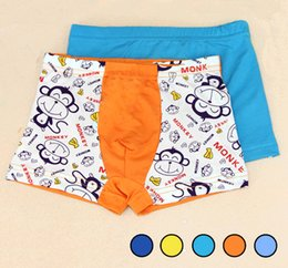 Wholesale Monkey Panties - Cartoon Children Underwear Panties Double Layers Crotch Short Pants Big Mouth Monkey Boys Boxer Super Soft Underpants Briefs 2T-8T