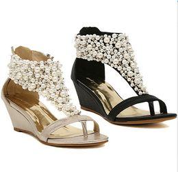 Wholesale Gold Wedge Shoes Women - Rhinestone zipper pearl beaded high heels gold beige black wedges sandals women shoes summer 2013