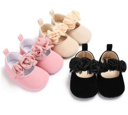 Wholesale Soft Cotton Baby Dresses - New fall rose flower cotton farbic baby moccasin shoes Newborn girl princess dress mary jane cute soft sole shoes 0-18M