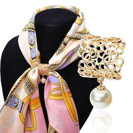 Wholesale Slide Scarf Accessories - 2015 new Gold Silver Camellia Flower with Pearl Scarf Slide Tube scarf buckle scarf jewelry accessories Scarf Ring For Women