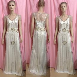 Wholesale Dress Short Sequins Open Back - 2014 Vintage Gatsby Wedding Gowns Sheath Open Back with Beaded Ovelay Art Deco Wedding Dresses Elegant Sneath Sweep Train Tea Party Dresses