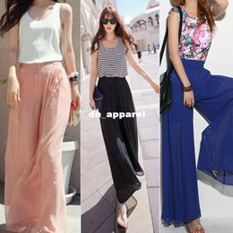 Wholesale Ladies Loose Long Pant - Vosicar Lady Wide Leg Chiffon High Waist Pants Long Loose Culottes Trousers 2015 Hot Sale