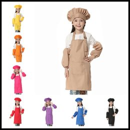 Wholesale Chef Waist Aprons - 12 Colors 3pcs set Children Kitchen Waists Kids Aprons with Sleeve&Chef Hats for Painting Cooking Baking