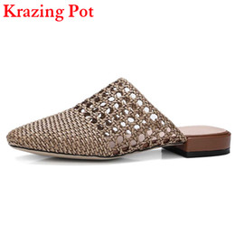 Wholesale Preppy Shoes - 2017 Handmade Cut Outs Mules Superstar Brand Summer Shoes Slip on Causal Women Slippers Preppy Style Nude Slingback Shoes L11