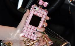 Wholesale Iphone 4s Case Handbag - Luxury Diamond Perfume Case Handbag Bow Bowknot Chain perfume bottle Case Cover For iPhone 6 6 plus 4 4S 5 5S capa para