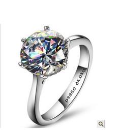 Argentina ¡El lujo 4 CT simuló los anillos de diamante para el anillo de bodas de diamante de Sona de los anillos de compromiso de la plata esterlina, envío libre! Suministro