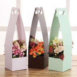 Wholesale Print Christmas Wrapping Paper - Fresh Flower Carrier Paper Flower Basket Portable Flowers Boxes 12x11x43cm Paper Carton Portable Florist Waterproof Holder