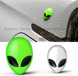 Wholesale Alien Decal - Funny Green Silver Alien Chrome Metal Car Styling Emblem Badge Extraterrestrial Intelligence 3D Car Sticker Decal Auto Exterior Decor 1634
