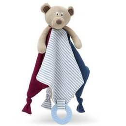 Wholesale Baby Soft Comforter - Wholesale-New Baby Comforter Toy Cute Cartoon Bear Soft Plush Rattle with Ring Bell Multifunctional