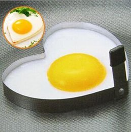 Wholesale Garlic Keepers - Cooking tools Egg & Pancake Rings Fried eggs Stainless Steel Heart Shaper Mould Kitchen gadgets utensilios de cozinha criativos A3A5