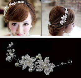 Wholesale Red Hat Charms - Fashion Wedding Bridal Hair Jewelry Pearl Charming hair accessories red wedding bridal crowns headbands bridal headwear bridal hats HT03