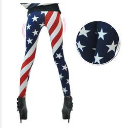 Wholesale Black Silk Leggings - Hot American flag leggings for women 2015 new woman's milk silk US flag printed leggins Digital Printing Legging Fashion World Cup Punk
