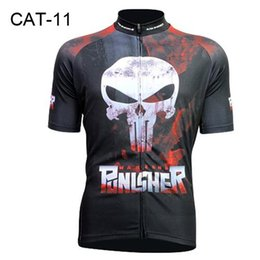 Wholesale Polyester Comfortable - 2016 Summer Cycling Jerseys Punisher Skull Black Novel Cycling Jersey Tops Comfortable Bike Wears Cycling Clothing Short Sleeve