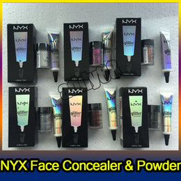 Wholesale Cream Color Eyeshadow - NYX Glitter Primer Cream Concealer Cream NYX Glitter Face and Body Shimmer Powder 6 colors Eyeshadow Powder DHL Free