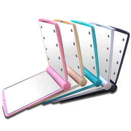 Wholesale Mirrors Chinese Wholesale - Light Up Mirror 8 Led Cosmetic Make Up Mirror 8Led Mirror Compact Mirror with Led Lights 5 Colors Portable Make Up Tool