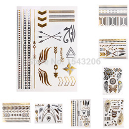Wholesale Anchor Ankle Bracelet - Body art Sex Jewelry Gold Flash Inspired Metallic Temporary Tattoos Bracelets Necklaces Stickers Tattoo Anchor Butterfly feather small order