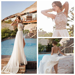 Wholesale Split Front Overlay - Julie Vino 2015 Beach Wedding Dresses Halter Lace Bodice Chiffon Overlay Bridal Gowns Beaded Split Side SSexy Backless Sleeveless Cheap