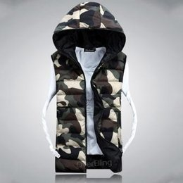 Wholesale Winter Clearance Down Coats Men - Fall-Clearance 2015 Winter Camouflage Lambs Wool Liner Down Cotton Vest Jacket For Men And Women Lovers Hooded Vests Casual Coats