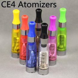Wholesale Electronic Cigarette Liquid Cartomizer - Electronic Cigarette Ego Ce4 Atomizer Clearomizer Cartomizer 1.6ml Tank for eGo Battery Fillable E-liquid CE4 Atomizers Round Flat Drip Tip